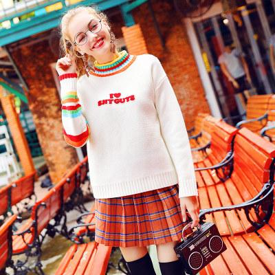 【先领券】甜美可爱彩虹条纹毛衣女半高领学生彩色针织衫秋冬宽松套头小清新