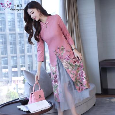 2018新款修身改良旗袍中国风两件套