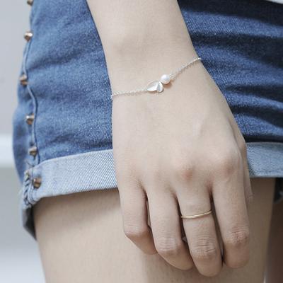 淡水珍珠树叶s925纯银手链女