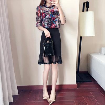 夏季韩版雪纺上衣鱼尾裙两件套