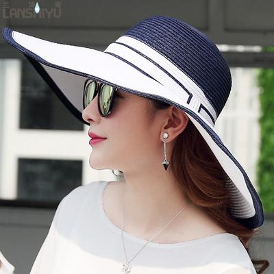 女夏季大沿帽沙滩帽海边可折叠遮阳防晒帽