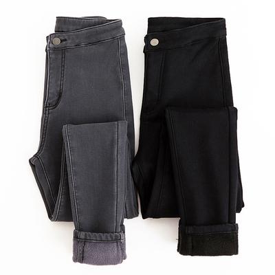 加绒加厚牛仔裤高腰打底小脚铅笔长裤