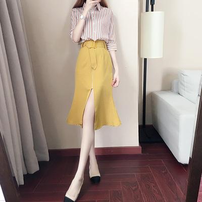 潮夏季衬衫配裙子两件套
