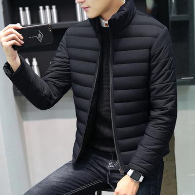 韩版短款修身加绒棉服男