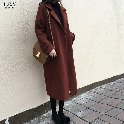 【先领券】焦糖色大衣女中长款韩国2017秋冬新款时尚毛呢外套显瘦过膝呢大衣