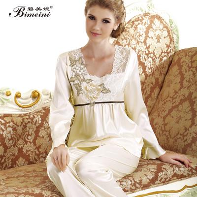 碧美妮冬季女丝绸家居服睡衣套装