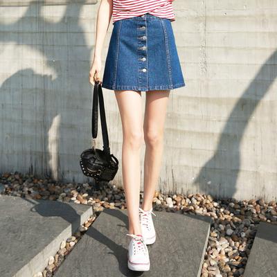 韩版排扣高腰深蓝色牛仔裙女A字裙