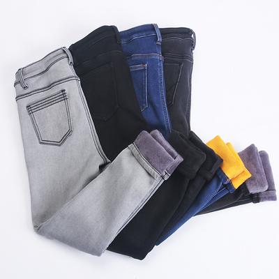 加绒加厚牛仔裤高腰保暖小脚铅笔裤