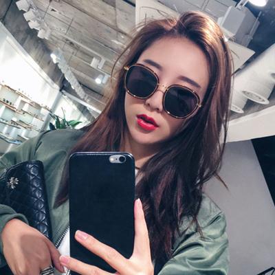 平片花框彩膜反光眼镜太阳镜女圆脸墨镜