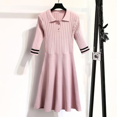 早秋chic慵懒风针织中袖连衣裙中长款