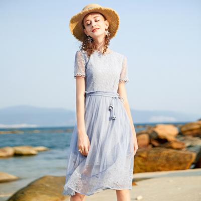 蕾丝超仙收腰长裙网纱裙子