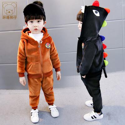 韩版中小儿童运动金丝绒两件套