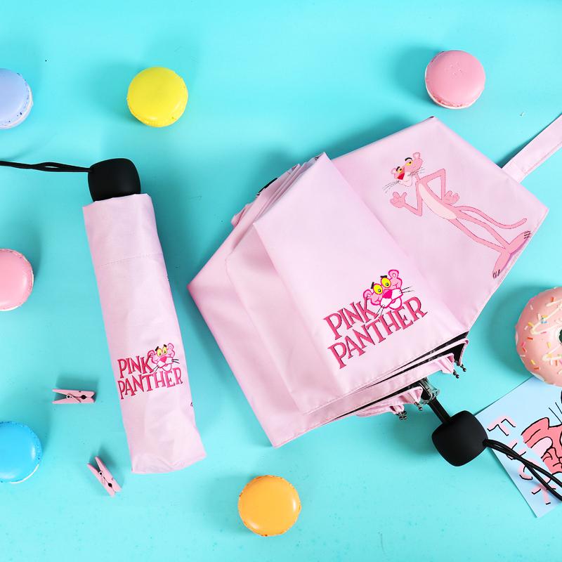韩国粉红豹黑胶防紫外线晴雨两用太阳伞