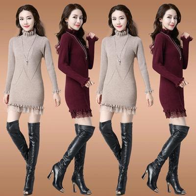 女士毛衣女加厚中长款韩版半高领蕾丝