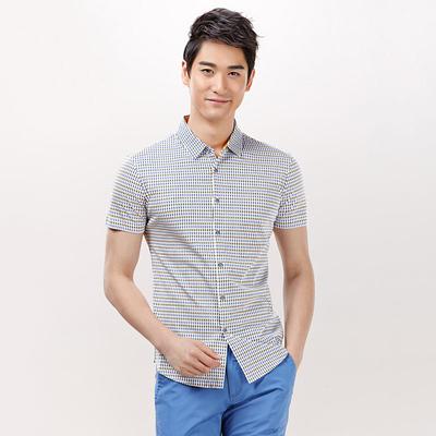 【海澜之家】剪标100%纯棉短袖衬衫