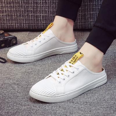 夏季韩版潮流帆布懒人包头拖鞋