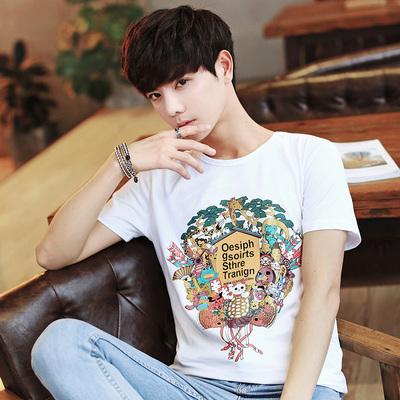 男生韩版纯色印花纯棉t恤衫