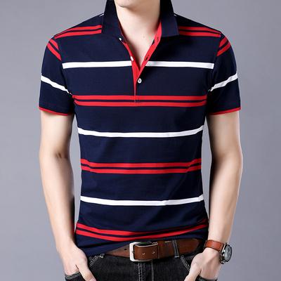 韩版修身半袖衫条纹纯棉T恤polo保罗衫