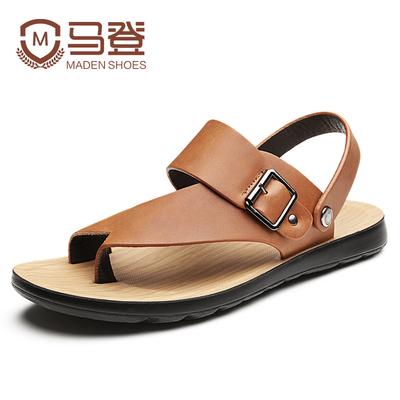 【马登】夏季真皮凉鞋沙滩鞋拖鞋男