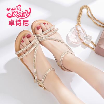 【卓诗尼】韩版百搭一字扣女夏凉鞋