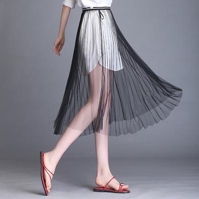 中长款单层半身裙外搭透视长裙