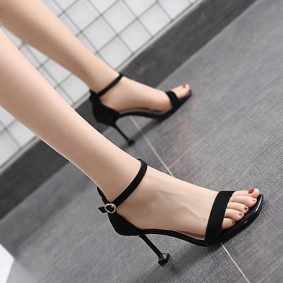 夏季新款凉鞋一字扣猫跟单鞋