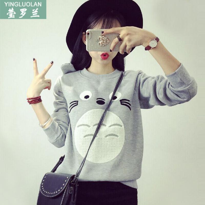韩版秋冬装学院风少女孩加绒长袖T恤初中学生宽松打底衫保暖上衣