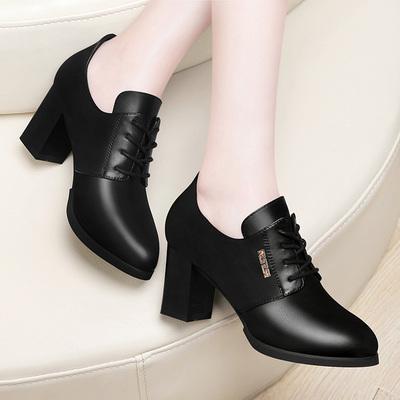 新款女鞋子百搭女士皮鞋高跟韩版秋鞋潮
