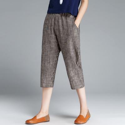 新款条纹哈伦棉麻七分裤亚麻裤子