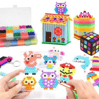 手工益智水珠拼图儿童玩具送收纳箱