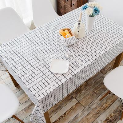 棉麻桌布小清新防水格子餐桌台布