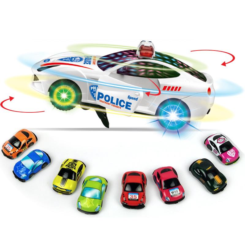 史低!儿童万向轮警车玩具+4车