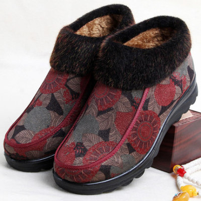 老人雪地靴女冬款棉鞋老北京布鞋