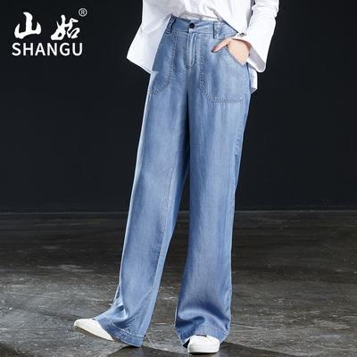2018夏季薄款天丝高腰阔腿裤休闲直筒裤
