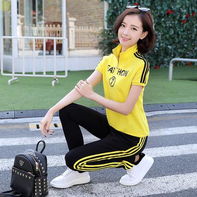 【莎梵】韩版夏季休闲运动服卫衣套装女