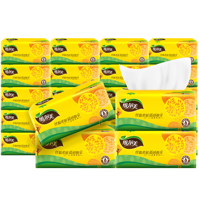 【维尔美】原木加厚3层24包整箱抽纸