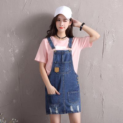韩版牛仔背带裙女牛仔裙新款短裙学生半身裙