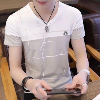 夏季男士短袖新款v领韩版潮流T恤