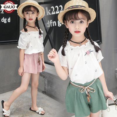 【伊诺小镇】女童洋气套装一字肩t恤两件套