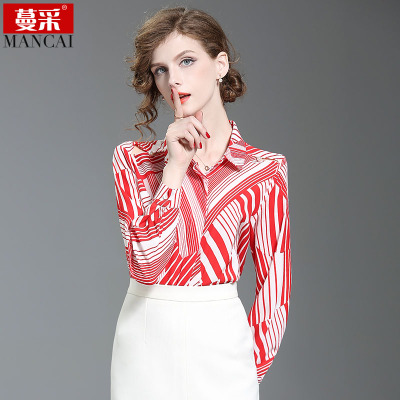 蔓采2018春季新款红白条纹衬衣