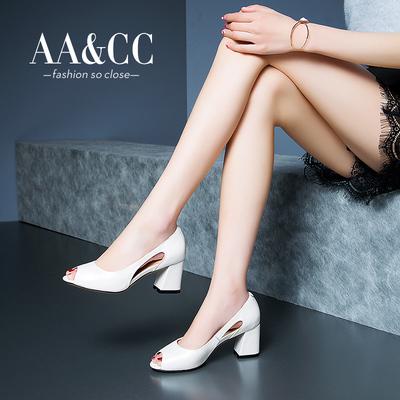 【AA.CC】新款鱼嘴鞋浅口女鞋高跟鞋