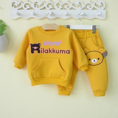 加绒童装男宝宝卫衣套装婴幼儿冬装