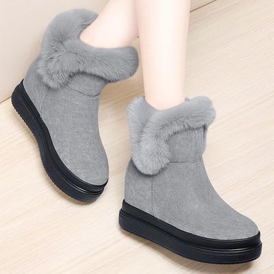 新款加绒棉靴韩版百搭女鞋保暖内增高短靴