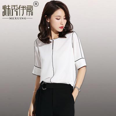 夏季新款韩范衬衣雪纺衬衫女短袖