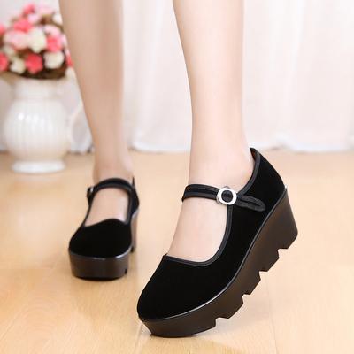 工作鞋单鞋厚底老北京布鞋舞蹈鞋
