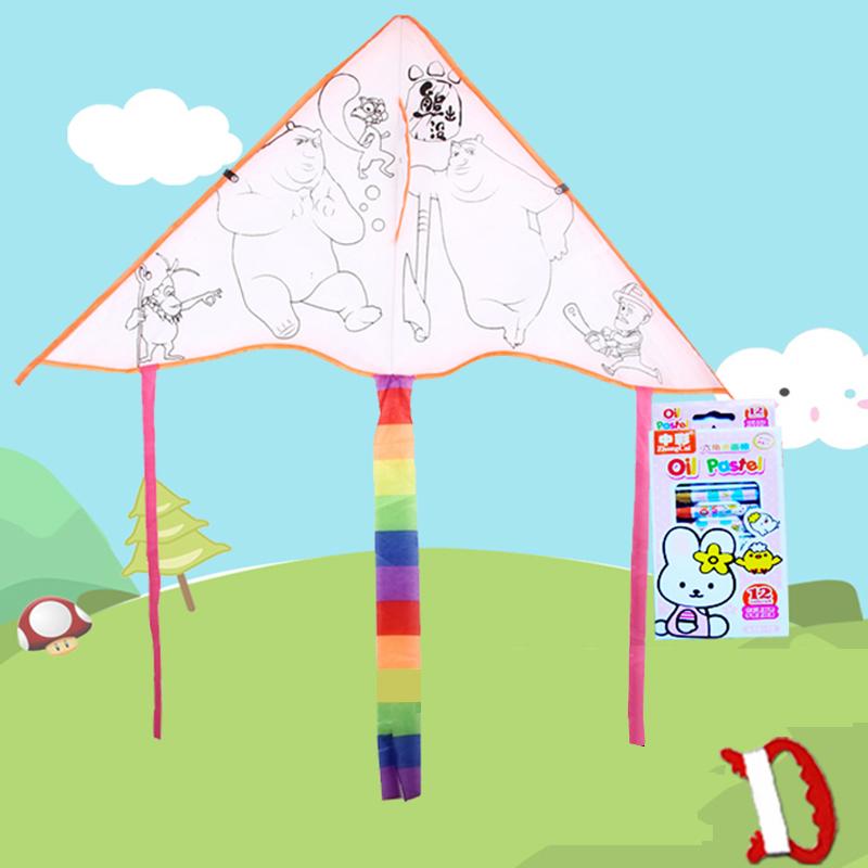 儿童DIY涂鸦填色风筝+12色画笔