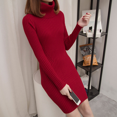 新款韩版百搭加厚毛衣裙冬